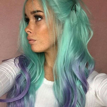 Green Purple Lace Front Wig