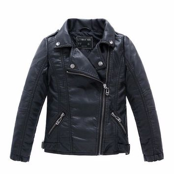 Trendy Brand Fashion Children Outerwear Coat Waterproof Baby Boys and Girls Leather Jackets For Age 1-14 Years Old AT_94_13