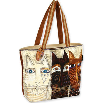 Laurel Burch Ancestral Cats Shoulder Tote