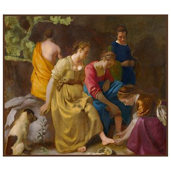 Diana and Her Companions by Johannes Vermeer Counted Cross Stitch or Counted Needlepoint Pattern