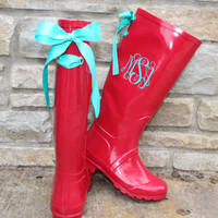 Raspberry Gloss Boot with Tiffany Bow and Monogram
