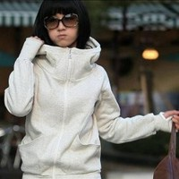 Simple and Comfortable High Collar Special Long Sleeves Design Fleeces Hood Coat For Women  - Sammydress.com