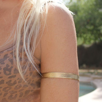 Gold Upper Arm Cuff World's Hottest Jewelry by 88Links on Etsy