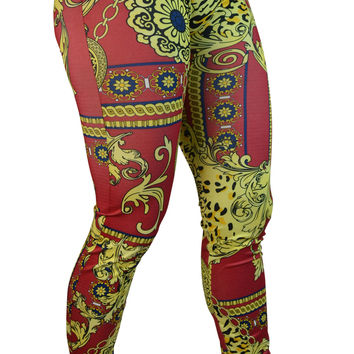 Red and Gold Leggings Design 379