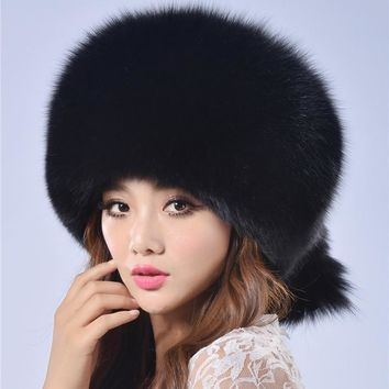 Women winter fur cap real fox/raccoon fur hat with fur tail 2015 new fashion Russian ear protector high quality female brand hat