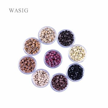 1000pcs 5mm Silicone Lined Micro Rings links beads for I tip hair extension tools 1# black . 9 Colors Optional
