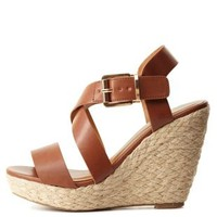 Strappy Espadrille Wedge Sandals by Charlotte Russe - Tan