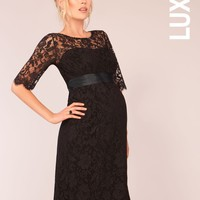 Maternity Cocktail Dress - Black Lace