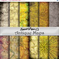 SALE Antique Maps and Paper Digital Paper Pack, Printable Paper and Ready for Use in Any Project, 12 High Quality JPEGs Maps, Streets, Compa