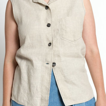 SALE Vintage 60s Natural Linen Button Up Sleeveless Top | M