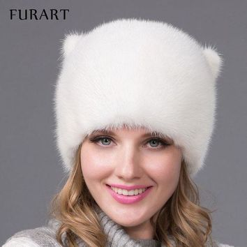 VONG2W Winter fur hat for women real mink fur cap with flowers style Russia fashion good quality ladies luxury headgear Mink tail DHY54
