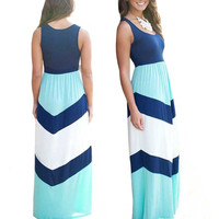 Sexy Striped Women Summer Maxi Beach Dress Casual Sleeveless Slip Spaghetti Strap Floor Length Long Dress Vestidos Robe Femme