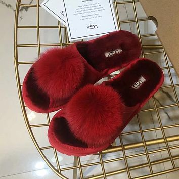 UGG Woman Men Fashion Fur Slipper Shoes