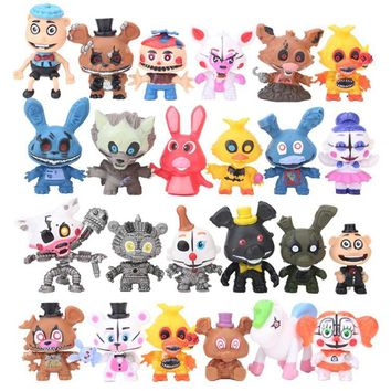 24pcs 5-7CM  At  Circus Baby PVC Action Figures  Freddy Bare Bonnie Foxy Chica Bear Figurines