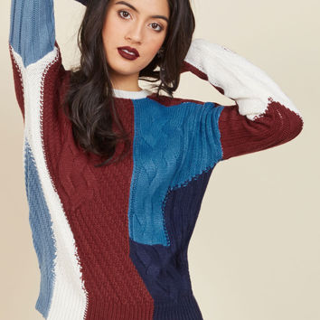 Patchwork Your Magic Sweater | Mod Retro Vintage Sweaters | ModCloth.com