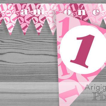 1st birthday banner girl, printable pink birthday party decoration, first birthday, PDF file, instant download, ready to print and cut, DIY