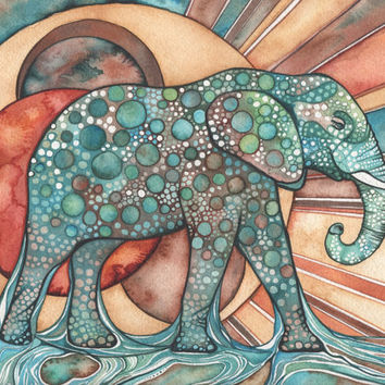 Sun Elephant 8.5 x 11 print of detailed watercolour artwork in rich surreal & psychedelic rust orange red turquoise blue green earth tones