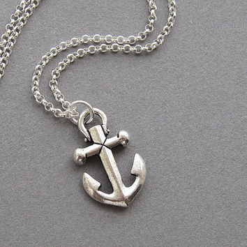 Anchor necklace, sterling silver rolo chain, small minimalist nautical beach resort jewelry