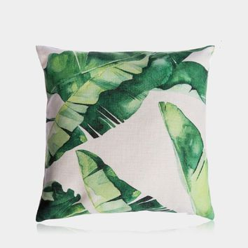 "Banana Leaves Pillow Cover 18"" x 18"""