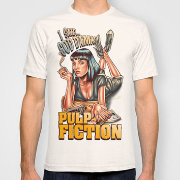 Mia Wallace - Pulp Fiction T-shirt by Renato Cunha