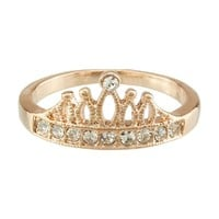 FM42 Pave Clear Crystal Hollowed-out Crown Design Princess Style Ring R307 Size 5
