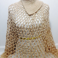 Netted See Through Shawl With Curved Turtle Neck Beautiful Shawl Chinky Shawl,Hand knitted Little cotton poncho oatmeal croshet poncho
