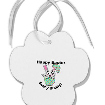 Happy Easter Every Bunny Paw Print Shaped Ornament by TooLoud