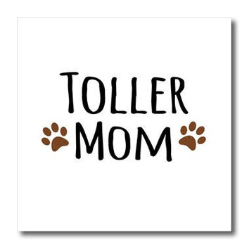 """3dRose ht_154208_3 Toller Dog Mom Nova Scotia Duck Tolling Retriever Doggie x Breed Brown Paw Prints Doggy Mama Iron on Heat Transfer For White Material, 10"""" x 10"""""""