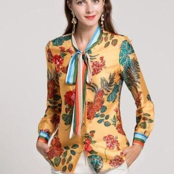 VONE05F8 Womens bow collar long sleeve floral printed runway shirts all match blouses