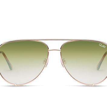 Quay x Desi Perkins High Key Rose Sunglasses / Green Fade Lenses