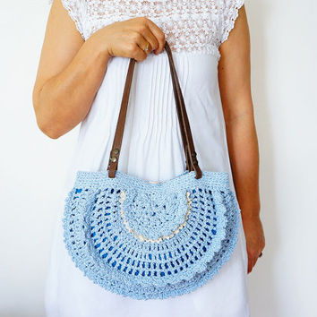 BAG // Blue summer bag- Handbag Celebrity Style With Genuine Leather Straps / Handles shoulder bag-crochet bag-hand made