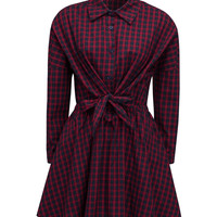 Red Plaid Tie Waist Long Sleeve Shirt Dress