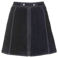 Suede Button Tab Skirt - Navy Blue