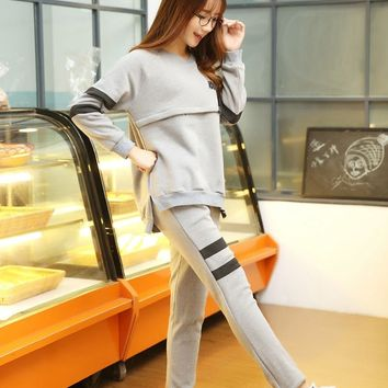 Maternity Nursing Tops Adjustable Elasticity Pants Sets Breastfeeding Clothes Pregnancy T-shirts For Pregnant Women Clothing