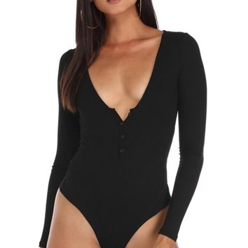 Black Basic Ribbed Long Sleeve Bodysuit
