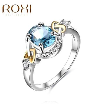 2017 ROXI Ring Engagement Wedding Rings Blue Cubic Zirconia Stone Fashion Jewelry For Women Love Anillos Mujer Finger Jewelry