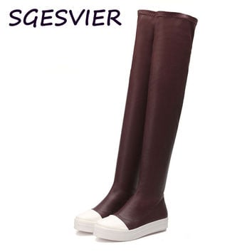 SGESVIER fashion multipurpose over the knee boots flat heels women boots round toe ladies boots warm boots for sale VV227