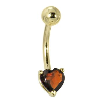 Solid 14KT Yellow Gold GENUINE GARNET Heart Solitaire Belly Ring