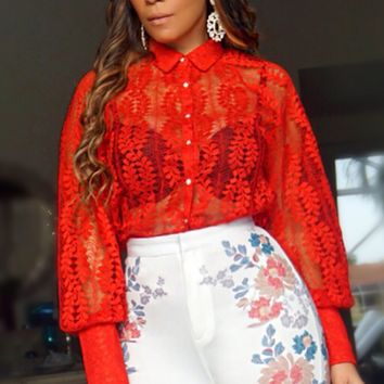 Madison Red Lace Long Sleeves Button Up Shirt