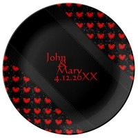 Personalize Beautiful Swirly Vines Red Hearts Porcelain Plate Wedding Or Engagement Gift