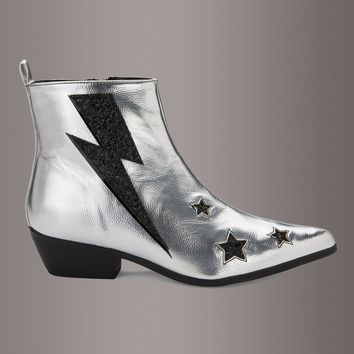 Y.R.U. Laso Volt Silver Stars and Lightning Bolt Ankle Boot