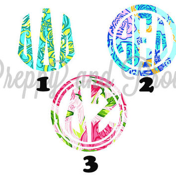 Lilly Pulitzer Inspired Sorority Sticker For Agendas, Laptop Monogram, Vinyl Monogram, Car Monogram, Personalized, Water Bottle Decal,Cooler
