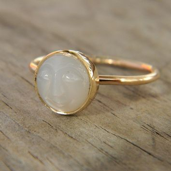 14k Yellow gold and Moonstone Man in the Moon by onegarnetgirl
