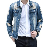 2017 Denim Jacket Men Casual Fashion hole Jeans Jackets Cowboy Mens Jackets & Coats Man Coat Chaquetas Hombre Plus Size 4XL 5XL