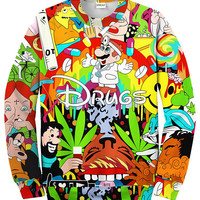 Drugs&weed Hot Men Women Sweatshirt Couples Sweats Unisex Sweatshirt Red Wine 3D