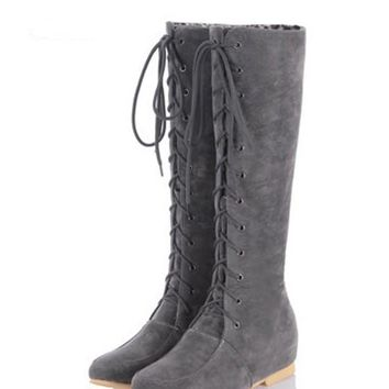 New Women Grey Round Toe Flat Lace-up Fashion Knee-High Boots