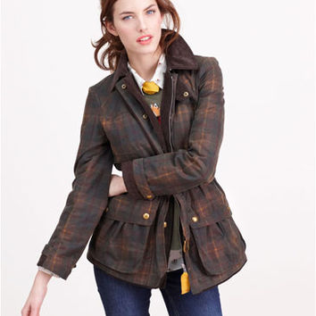 Black Watch Tartan Milbury chk Womens Checked Wax Jacket  | Joules US