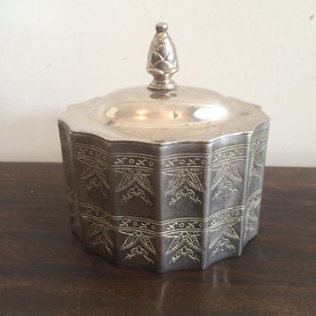 Valentine Etched Silver Plated Godinger Trinket Box Vanity Accessory Jewelry Box Keepsake Box