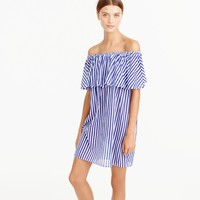 Off-the-shoulder bold striped dress