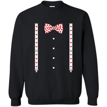 Hearts Bow Tie & Suspenders Valentine's Day Costume  Printed Crewneck Pullover Sweatshirt